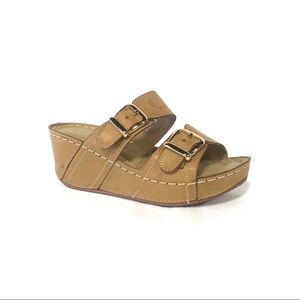 Italina Beige Natural Tan Strappy Comfort Wedges